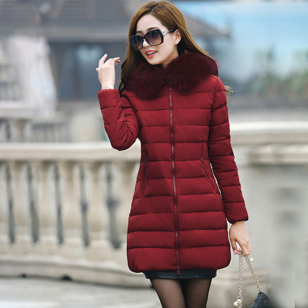 Large Fur Collar Winter Parka Women 2017 New Winter Jacket Coat Women Long Slim Thickening Warm Wadded Jacket Female Outerwear 2017 winter new clothes to overcome the coat of women in the long reed rabbit hair fur fur coat fox raccoon fur collar