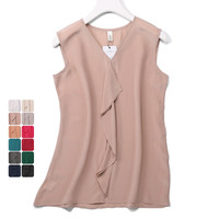 Woman Summer Natural Silk Blouse Sleeveless V neck Office Wear Real Silk Blouses Ruffles casual Silk Shirt Blouse for Women