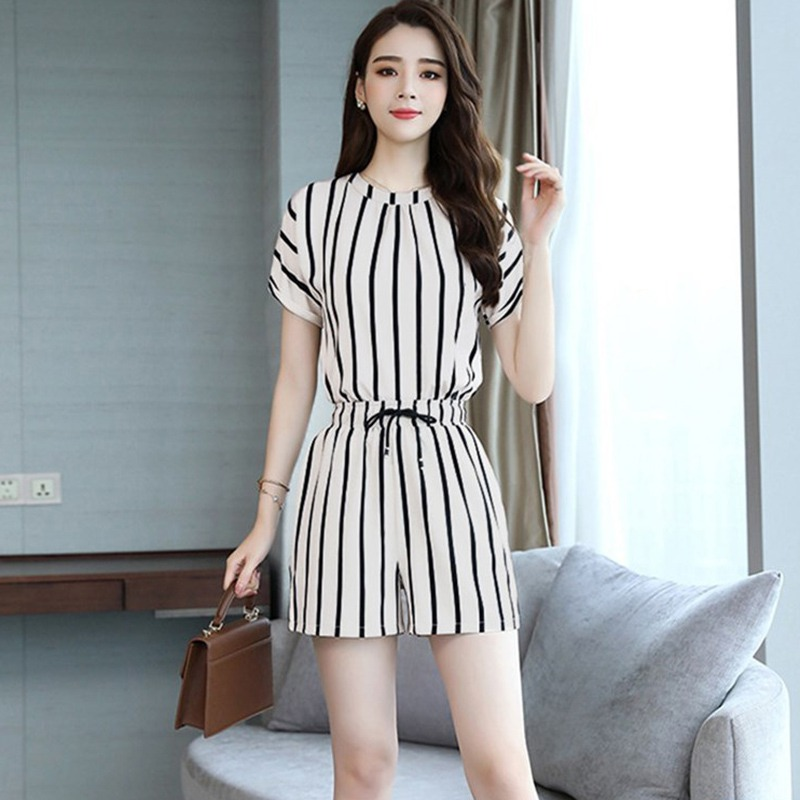 Women Summer Casual Two Piece Set Fashion Stripe O Neck Short Sleeve Tops + Lace Up Shorts Female Korean 2 Piece Set