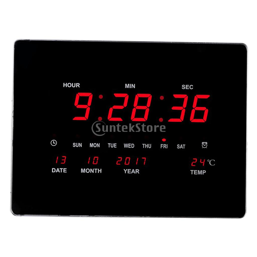 24H Digital Wall Clock Large LED Screen Time Calendar Temperature Desk Table Clock Counter Down - Easy To Read EU