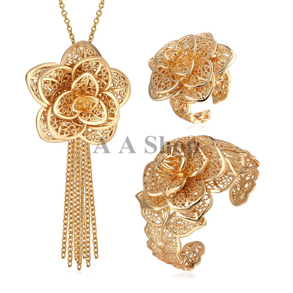 S043 2015 New 18K Real Gold Plated Big Flower Jewelry Set Trendy ...