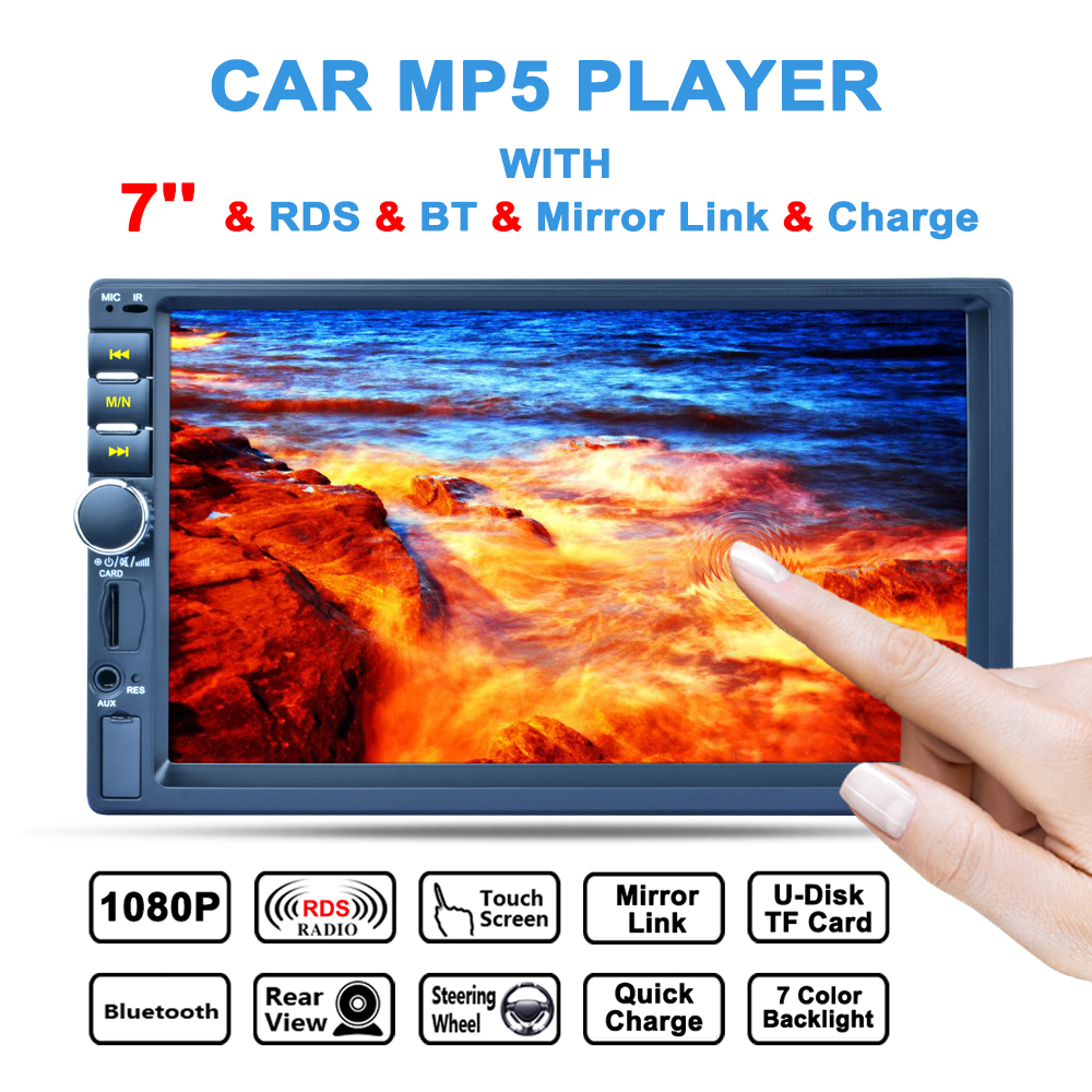 7'' 2 DIN Bluetooth In Dash HD Touch  Screen Car Video Stereo Player AM / FM / RDS Radio Support Mirror Link / Rear View Camera rk 7157b 7inch 2din car mp5 rear view camera fm am rds radio tuner bluetooth media player steering wheel control