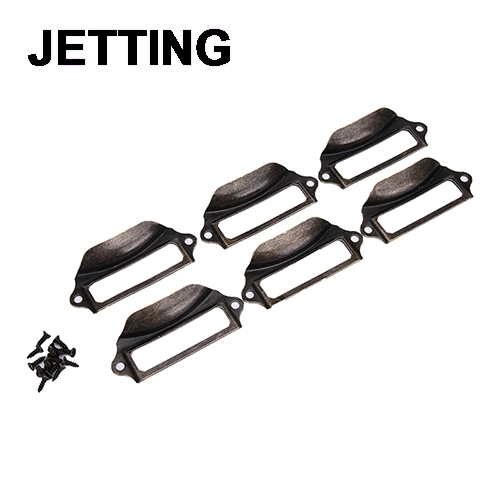 6pcs Handle File Name Card Cabinet Handles Label Hold Antique Br Drawer Pull Frame In Pulls From Home