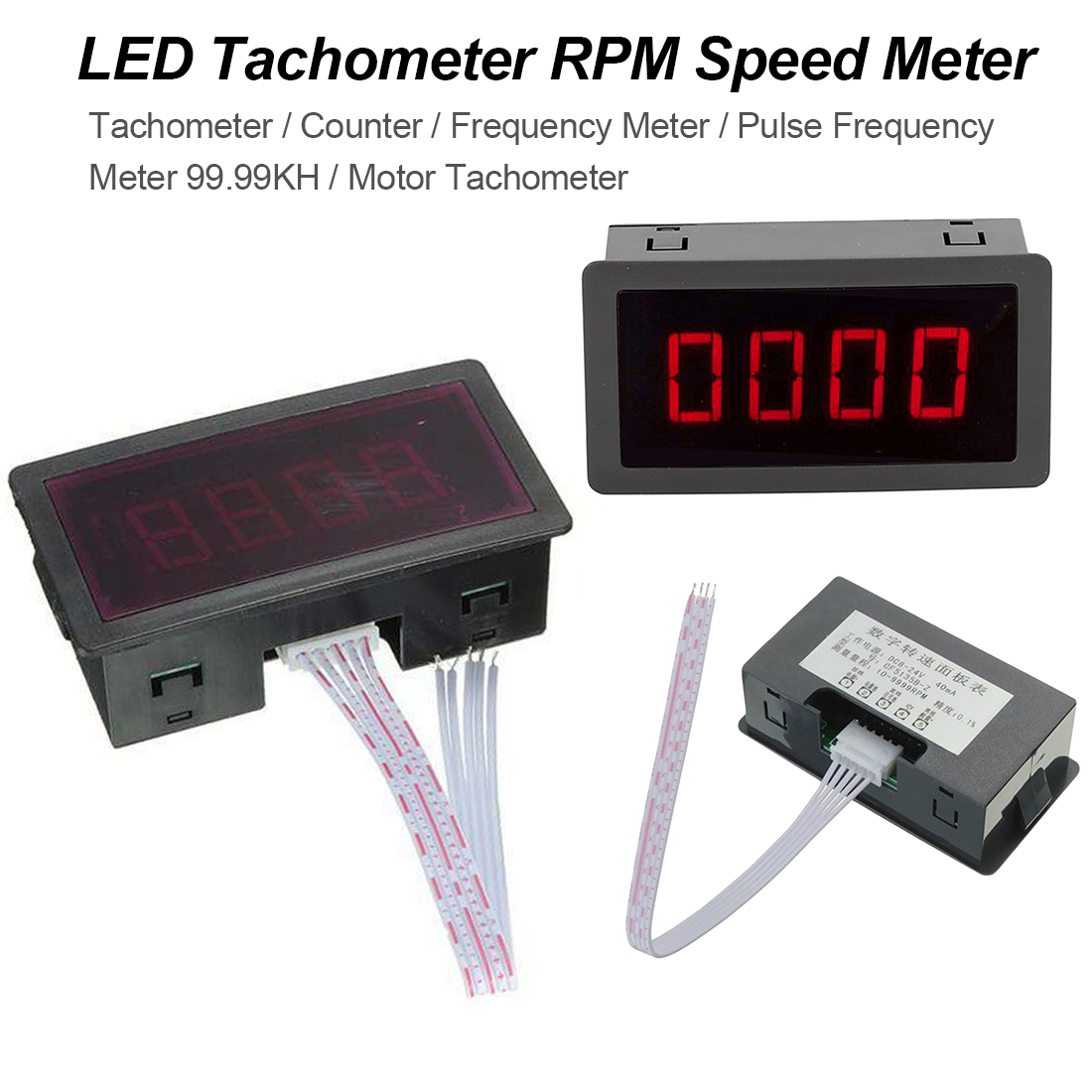 Frequency Meter Pulse Frequency Meter Tachometer Counter RPM Speed Meter 4 Digital+Hall Proximity Switch