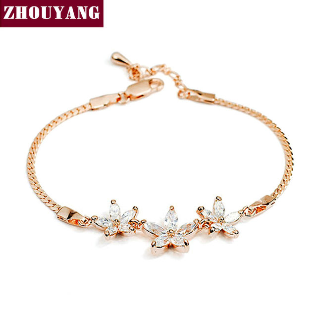 ZYH023 Three Clear Flower  Rose Gold Plated Bracelet  Jewelry Made with Genuine  Austrian Crystals Wholesale