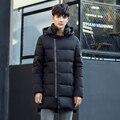 Hot-venda dos homens para baixo jaqueta oblíqua zíper médio-longo para baixo casaco preto gray # c307