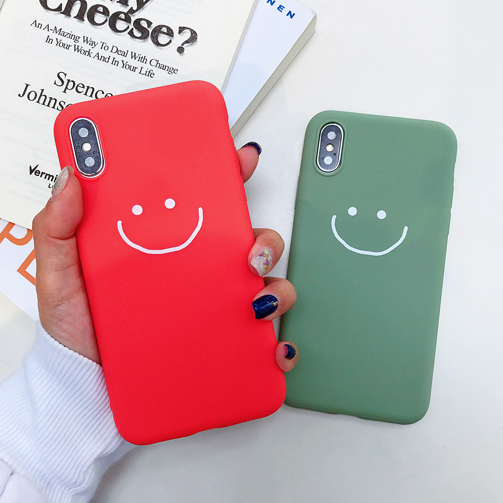 KIPX1083_8_JONSNOW Phone Case for iPhone X XR XS Max Candy Color Smiley Pattern Soft Silicone Case for iPhone 7 8 6S 6 Plus Back Cover