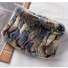 Hurtownie 2019 zima gorąca sprzedaż prawdziwe Rex Rabbit Fur dzianiny opaski moda dzianiny naturalne kobiety futro szal panie luksusowe szaliki tanie tanio Nakrycia głowy WOMEN Dla dorosłych Stałe NB138