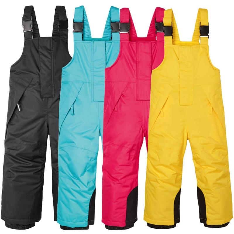 2019 Winter Kids Ski Overalls Fleece Windproof Girls Bib Pants Cotton Warm Skinng Boys Jumpsuit Outdoor Snow Overalls Trousers