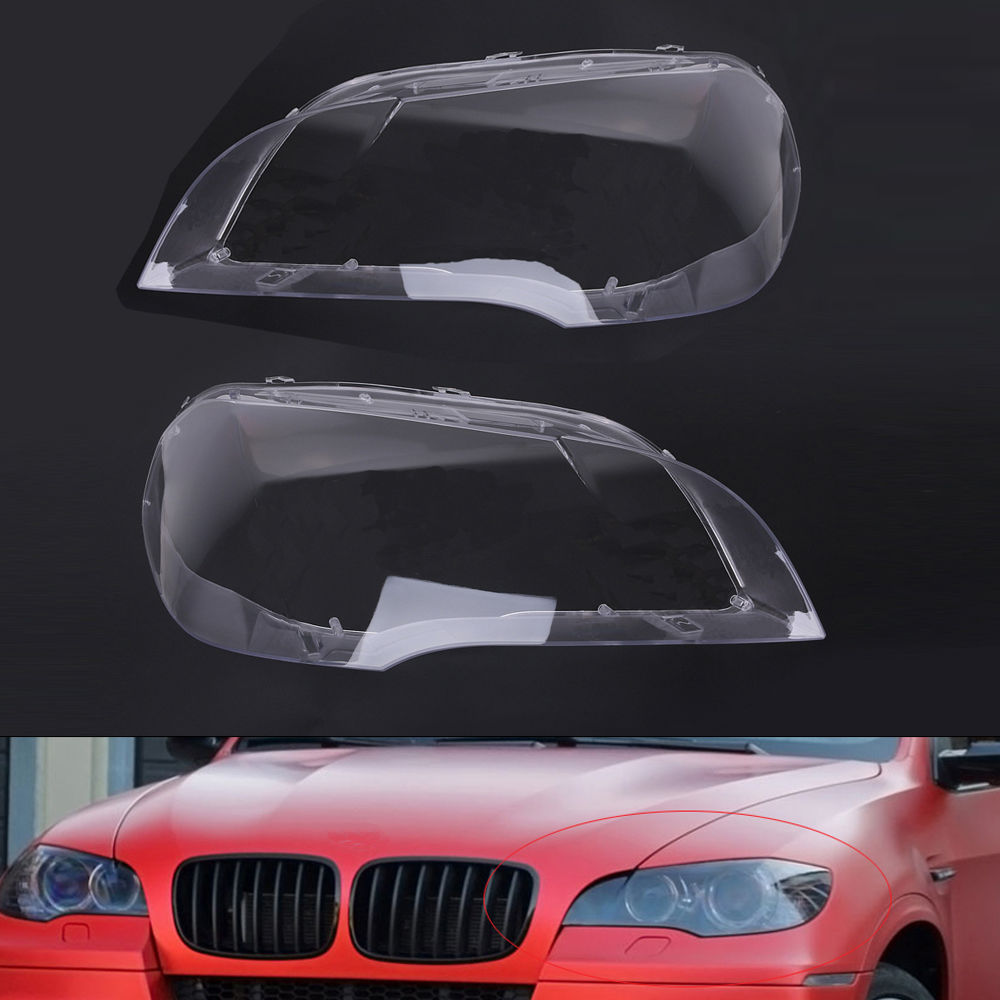 Car Styling 2PCS Left Right Front Headlight Lens Cover For BMW E70 2007 2008 2009 2010 2011 2012 Headlight Case Automobiles Kit car styling left