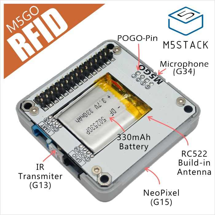 M5Stack Official RFID M5GO Battery Bottom Compatible with ESP32 Development  Board STEM RC522 Built in antenna IR Transmitter MIC