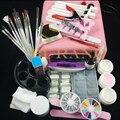 Nail Art UV Gel tools UV lamp Brush Remover nail tips glue acrylic manicure set nail sets nail kits 36w pink lamp#002set