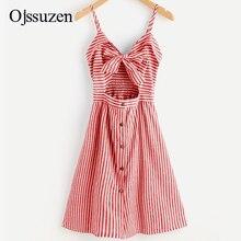 цена на 2020 Fashion Striped Sexy Beach Dress Women Elegant V Neck Dresses Women's Casual Sundresses Button Cami Dress Backless