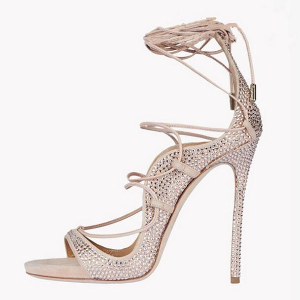 Sexy Crystal Strappy Sandals High Heel Cut-out Peep Toe Summer Dress Shoes Woman Ankle Straps Gladiator Sandal Boots Size 11 sexy glossy gold caged party stiletto heel shoes summer ankle boots women peep toe strappy gladiator sandals women party pumps