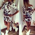 Новое Лето Мода Повседневная Женщины Dress С Плеча Цветок Печатных Половина Рукава Асимметричный Шеи Dress Оболочка Bodycon Dress