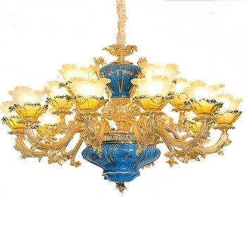 Modern Villa Lustres Crystal Lamp luxury Blue Peacock Glass chandeliers zinc alloy restaurant Lustre crystal chandelier Blue