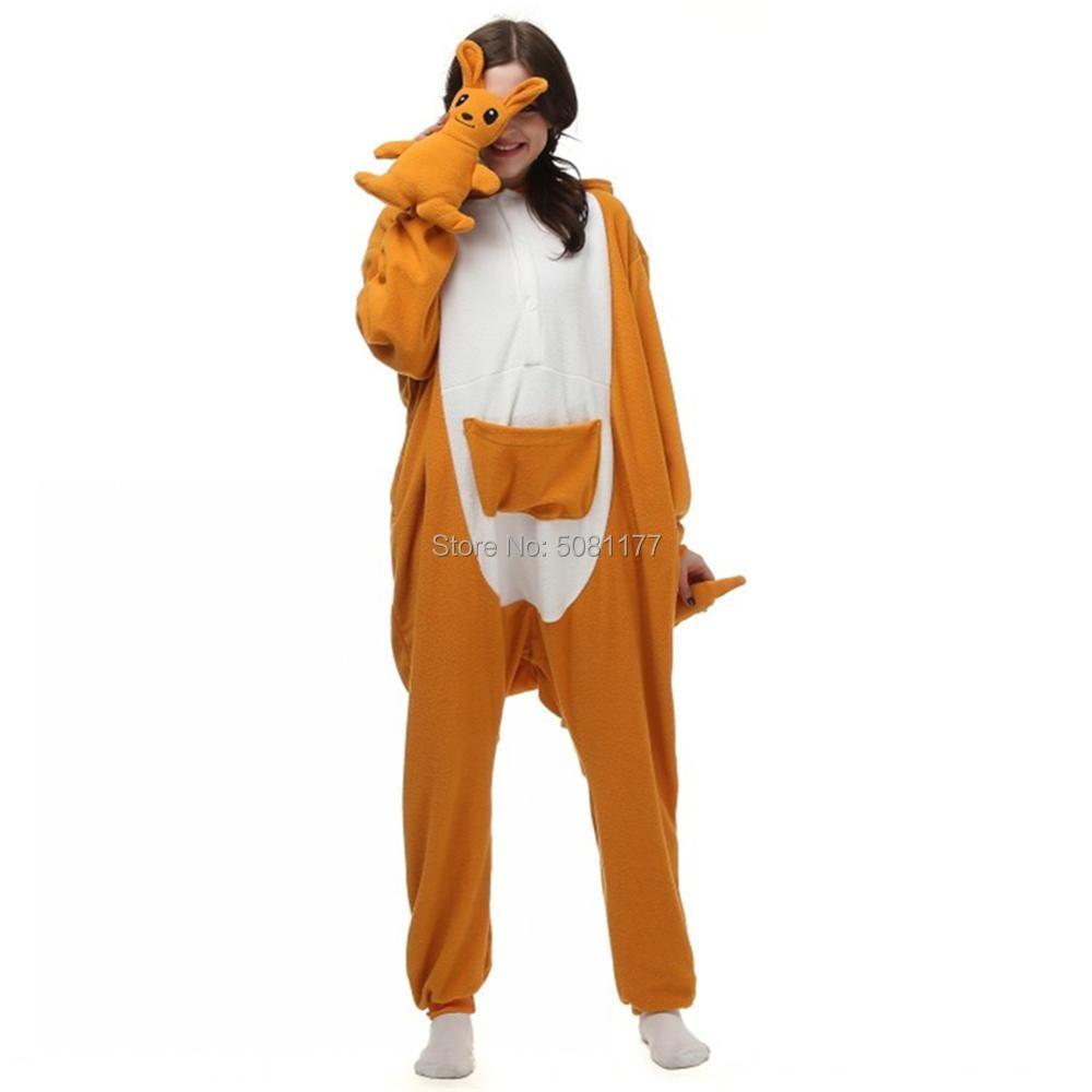 Unisex Adult Cartoon Animal Onesie Kangaroo Cospaly Costumes Halloween Carnival Masquerade Party Plush One Piece Anime Pajamas