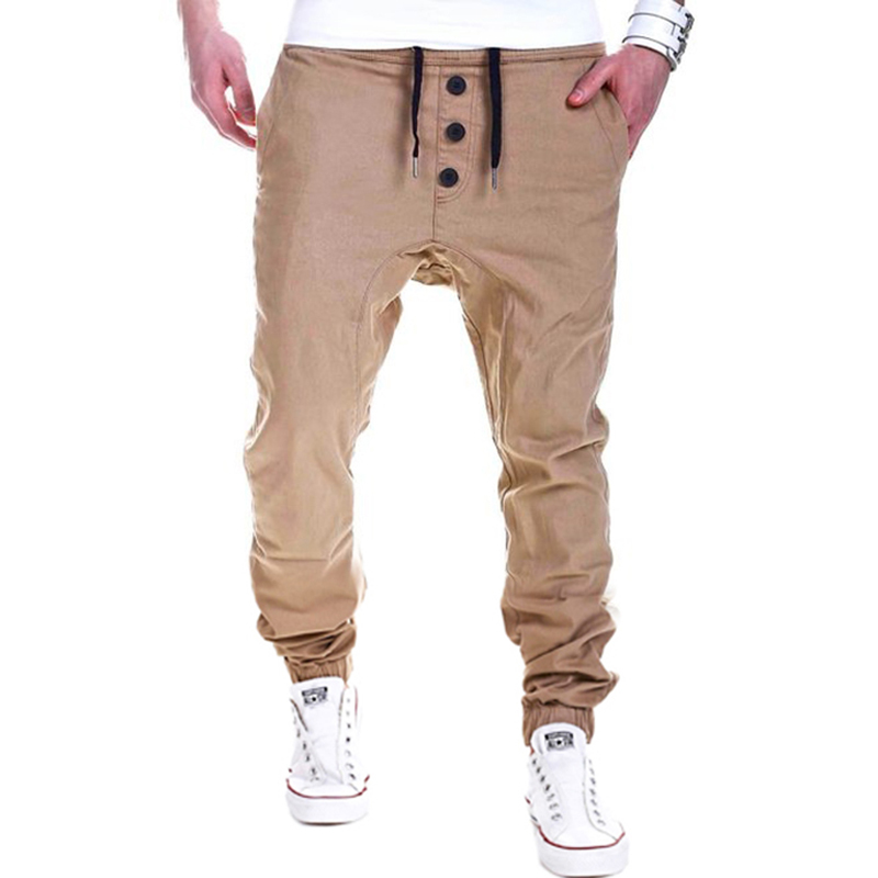HOT 2018 Outdoor Mens hip hop street harem sweatpants Drawstring track leg Men Cotton solid color jogging running elastic pants ...