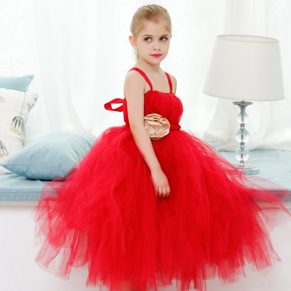 ФОТО 2017 New Arrival Baby Girl Tutu Dress Red Princess Dress For Baby Girl Children Christmas Wedding Party dress