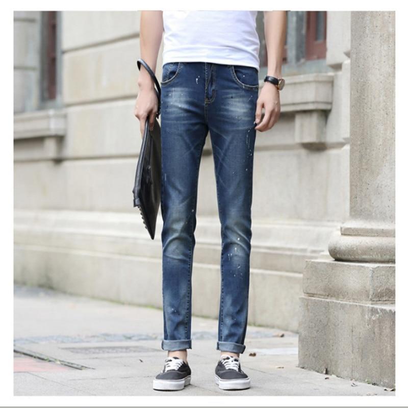 ФОТО Men New Arrival Business Denim Jeans Slim Fit Cotton Casual Pencil Jeans Male Brand Autumn Winter Korean Casual Denim Pant F1753