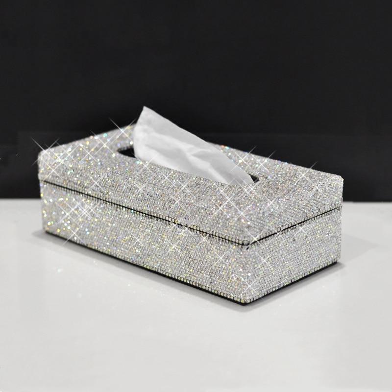 Модная блестящая обувь высокого качества из искусственной кожи кристаллы, стразы тканевый чехол для Бумага коробка для дома салфетки бумаж...
