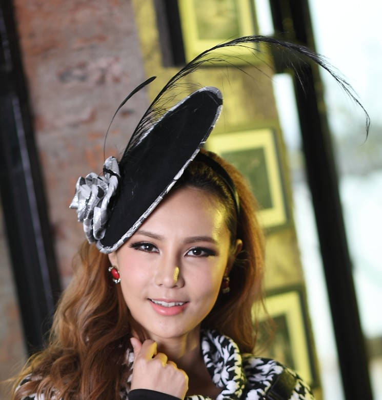 Free Shipping Elegant Women Fascinator Hat  Black Color Feather Hair Bands Flower Hair Accessories Derby Church Wedding Party free shipping high quality 2015 mini disc flower sinamay fascinator with feather for race