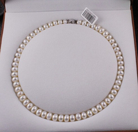 wholesale good silver jewelry AAA Natural 8 9MM Freshwater Pearl Necklace 42 44cm Genuine Choker Classic Knotted Mother