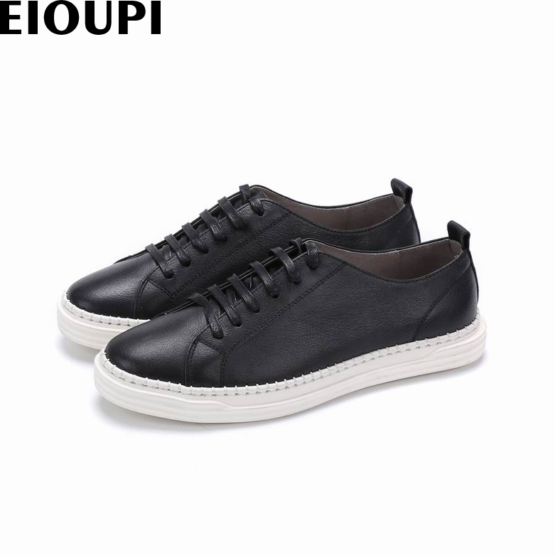 EIOUPI new design genuine real leather mens fashion business casual retro shoe men round toe shoes e109 new men s business casual leather stage shoes silver retro leather dating personality shoes