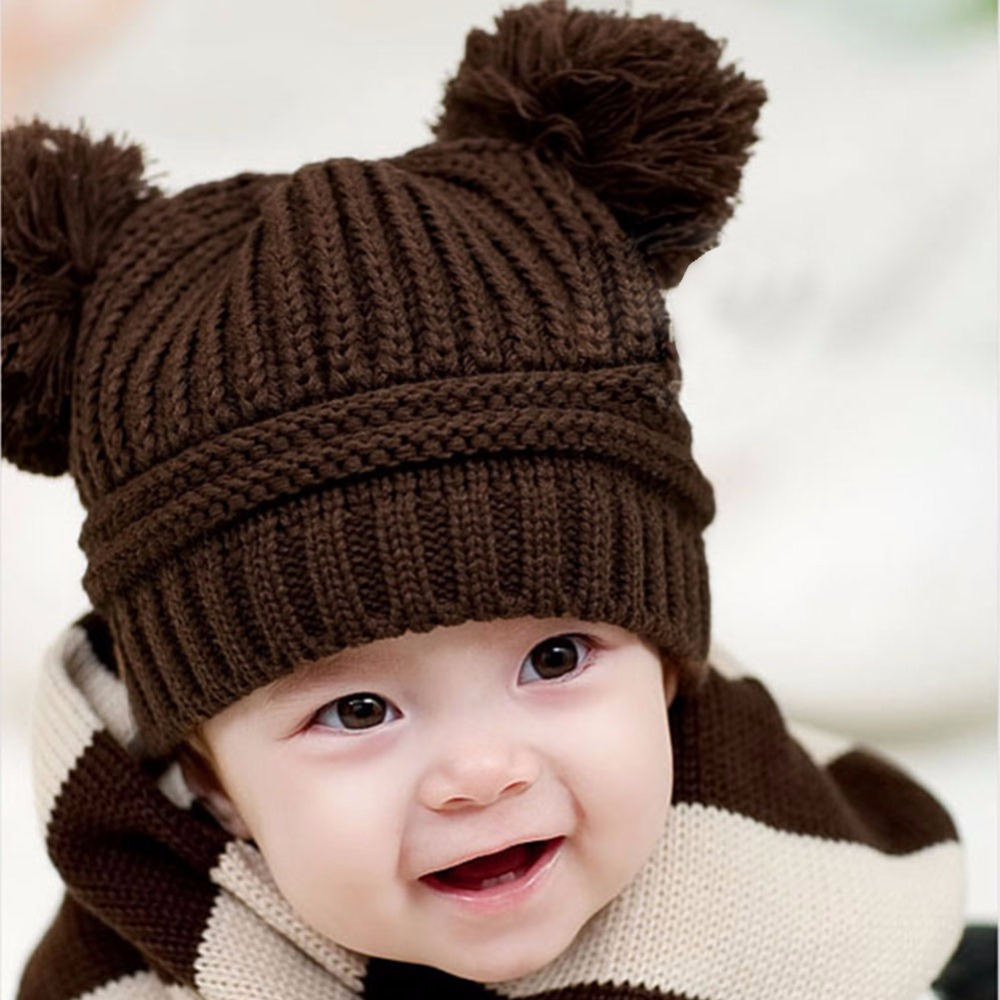 Children Winter Warm Hat Cute Double Balls Earflaps Caps for 3M-3Y Boys Girls Infant Kids Baby Knitted Beanie Hat Caps