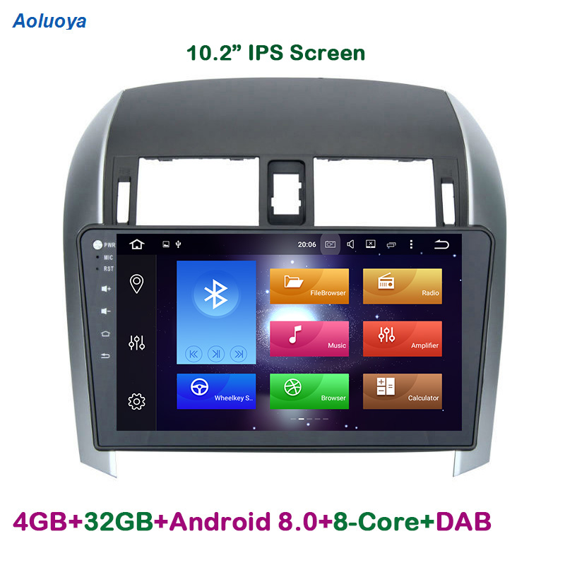 Aoluoya IPS RAM 4G Octa-Core Android 8.0 2 Din CAR Radio DVD GPS Navigation player  For Toyota Corolla 2007-2012 wifi multimedia