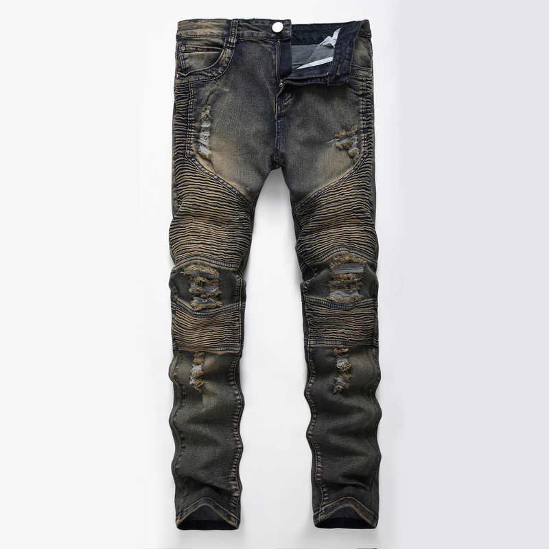 d411ea07670 ... ZYFPGS Men Ripped Levi Slim Jeans Elasticity Hole Men's Straight Washed  Skinny Hip Hop Biker Jeans ...