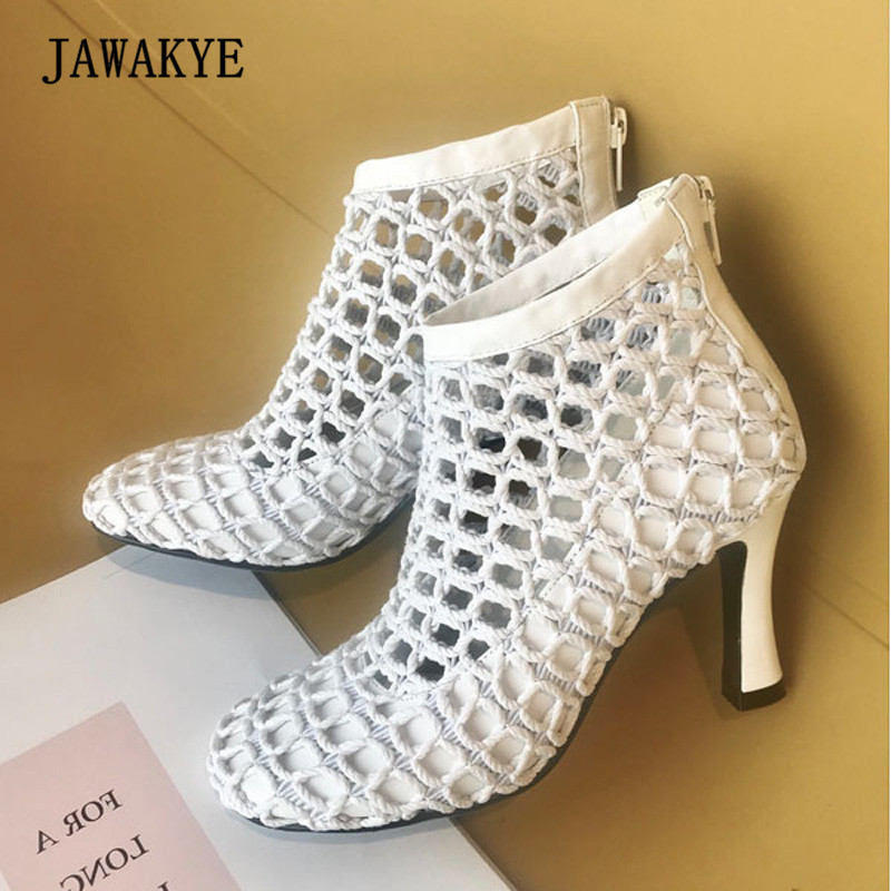 2018 Black White Real Leather Mesh Ankle Boots Woman Round Toe Hollow Strange High Heel Shoes Woman Short Boots Summer Sandals white black rivets women high heel sandals peep toe hollow out summer sandals real picture newest ankle buckle short boots