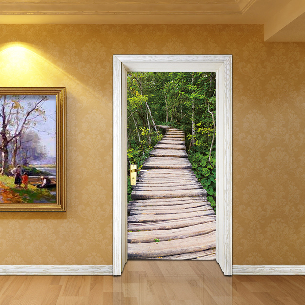 3d forest path door stickers bedroom living room bathroom door stickers decoration stickers waterproof wall stickers