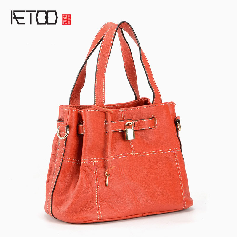 AETOO New leather platinum bag handbag European and American fashion litchi pattern lock single shoulder layer cowhide handbags free shipping new fashion brand women s single shoulder bag lady messenger bag litchi pattern solid color 100