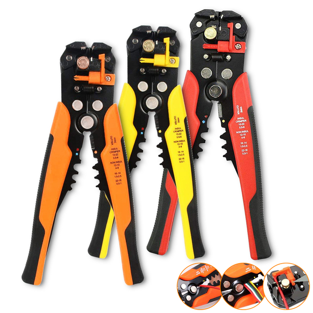 Cable Wire Stripper Cutter Crimper Automatic Multitool Crimping Pliers TAB Terminal Adjustable Stripping Plier Electrician Tools