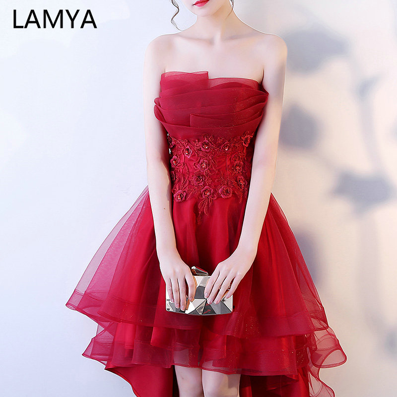LAMYA Robe De Soiree Lace Appliques Short Front Evening   Dress   2019 Customized Sleeveless Banquet Sexy   Prom     Dress   Party Gown