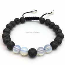 Dropship tiger eyes spar adjustable Bracelet Black Lava Stone Skeleton Beaded Bracelets For Men Women Pulseras Hombre
