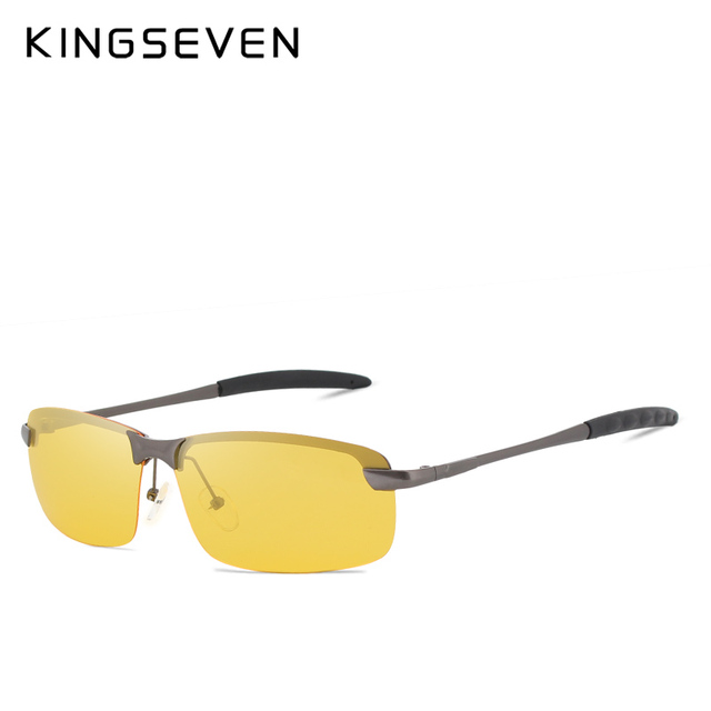 KINGSEVEN Night Vision Goggles Driving Polarized Sunglasses for men's car Driving Glasses Anti-glare Alloy Frame glasses night 3