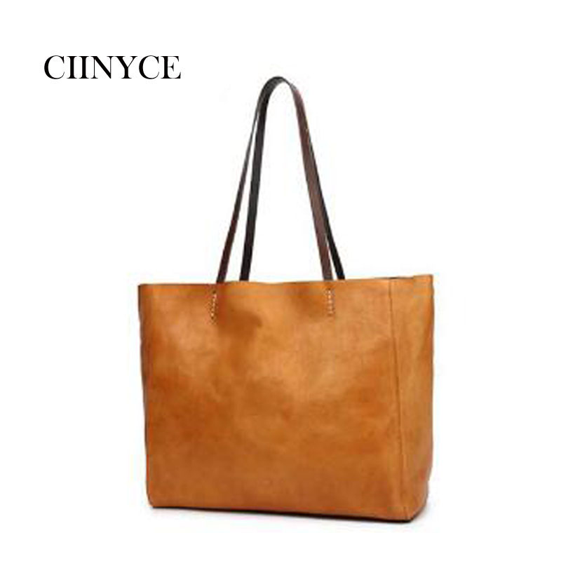 2018 Brand New Women Casual Handbag Genuine Leather Female Shoulder Black Tote Soft Cow Skin Large Capacity Shopping Bags aodux 2018 new famous brand women tote shopping bags female genuine leather woman second layer cow leather shoulder shopping bag