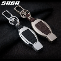 SNCN Galvanized Alloy+Leather Car Key Case Cover Shell For For Mercedes Benz AMG W203 W210 W211 W124 W202 W204 W205 W212 W176