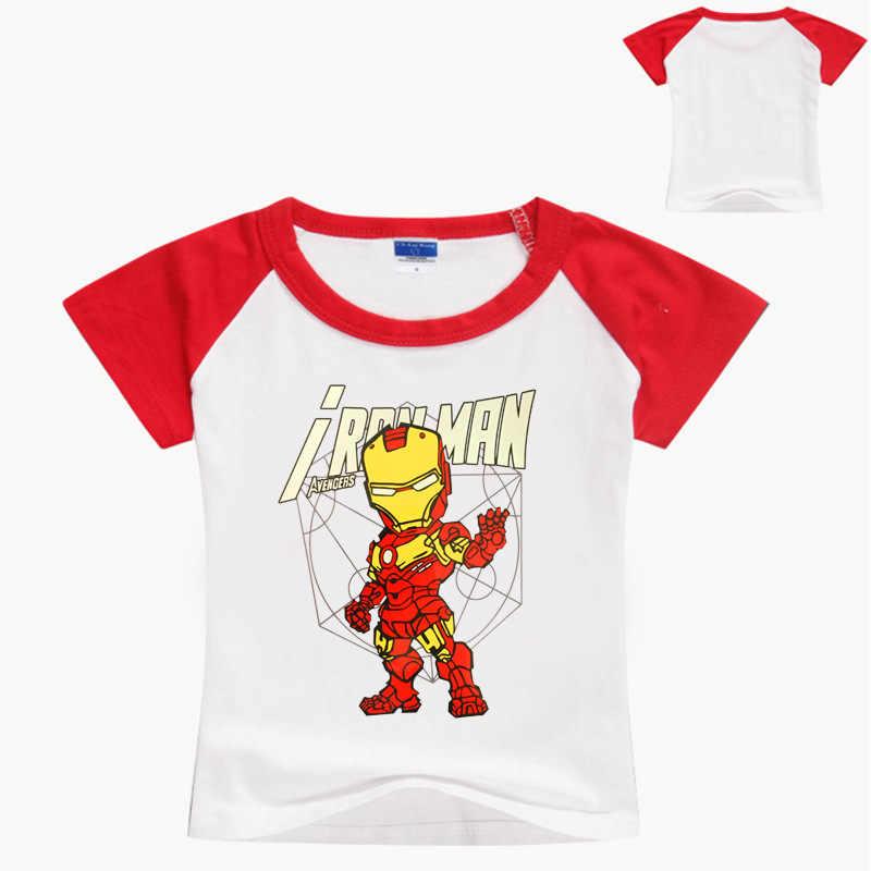 Camiseta de verano para niños de los vengadores de Marvel, superhéroe Iron Man, camiseta de capitán de dibujos animados para niños, camiseta América, Top Casual para adolescentes, bebé