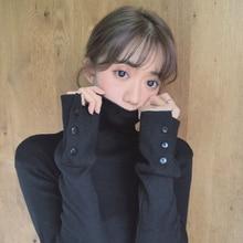 summer Slim tunic black Women T Shirt Long Sleeve Turtleneck Button Ulzzang Harajuku Korean fashion Vogue solid Top girls tee недорого