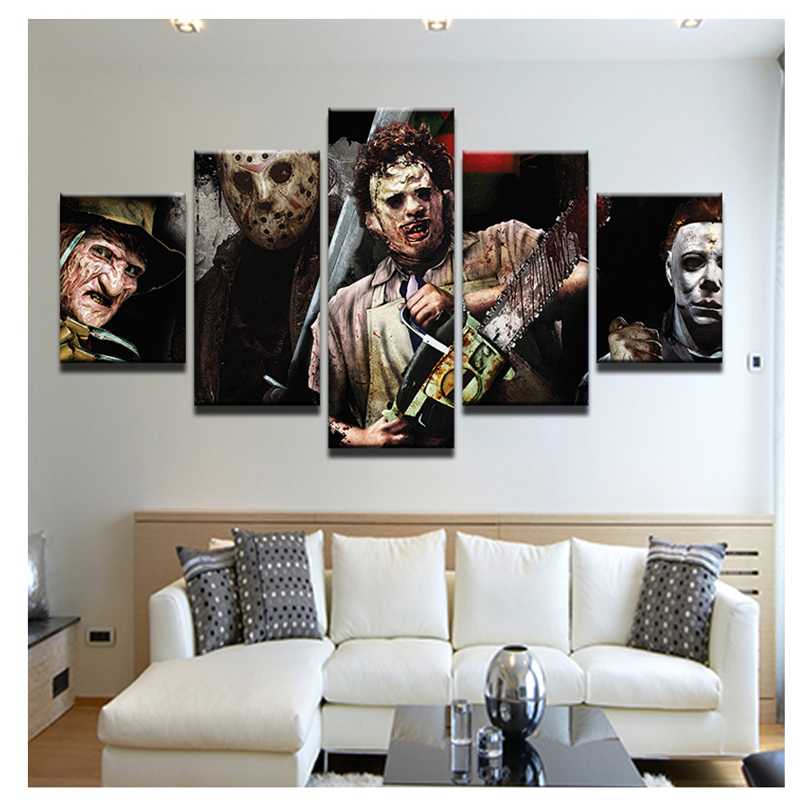 5D DIY Diamond Embroidery Chainsaw horror movie 5pcs Multi picture Combination Diamond Painting Cross Stitch Rhinestones