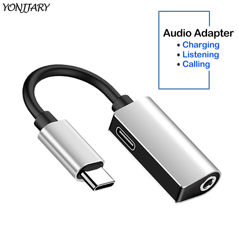 2 in 1 USB Type C Male to 3 5mm AUX Headphone Jack Adapter for Huawei