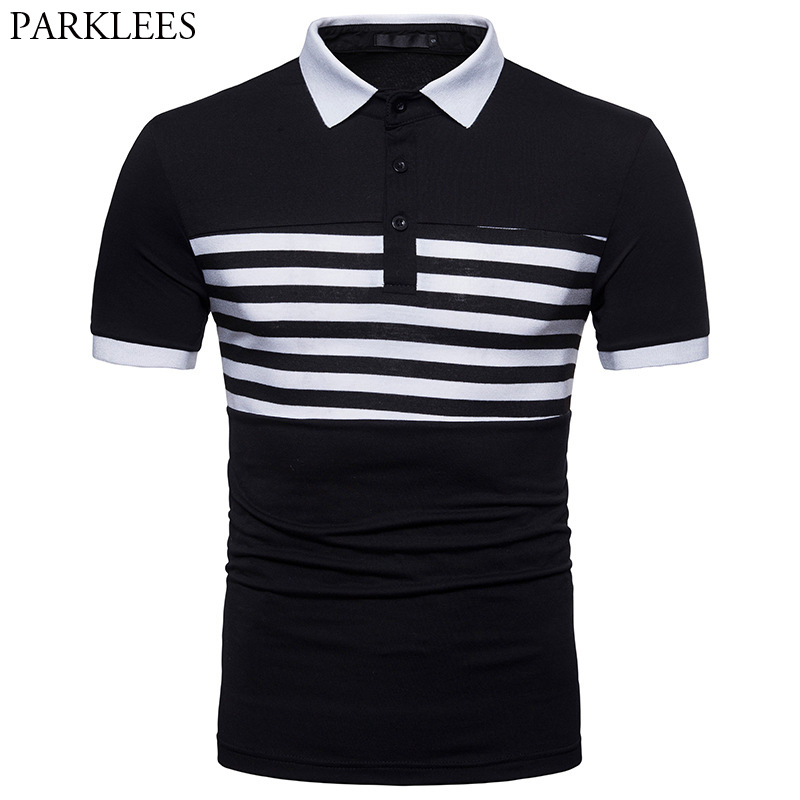 Mens Hipster Striped   Polo   Shirt 2018 Brand New Slim Fit Short Sleeve   Polos   Shirts Men Summer Casual Camisa Masculina   Polo   XXL