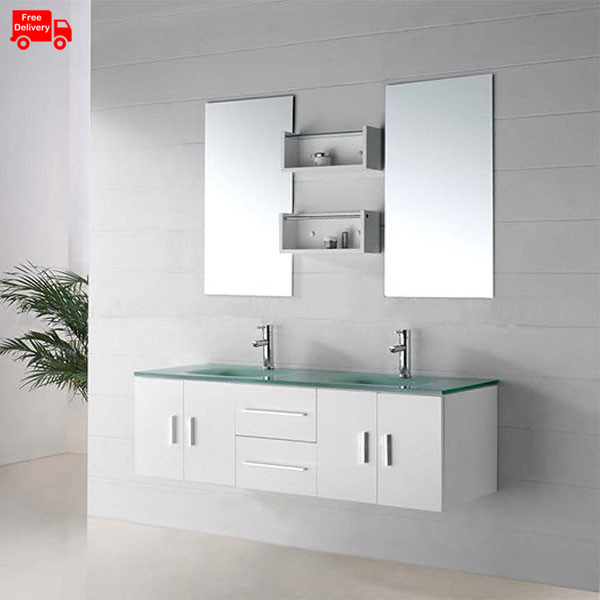 1500mm(60 Inch) Glass Top Double Sink Vanity France With Glass Vanity Top