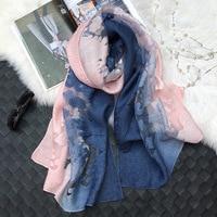 Горячая Распродажа довольно тень кружевные шарфы мусульманские платки хиджаб женский шарф/шарфы пашмины бандана шелковый шарф Бесплатная ...