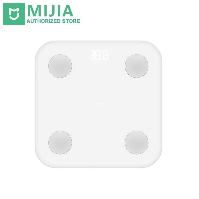 Xiao mi Escala de grasa corporal inteligente 2 XMTZC02HM mi fit APP Monitor de composición corporal con pantalla LED oculta y pad Pies Grandes