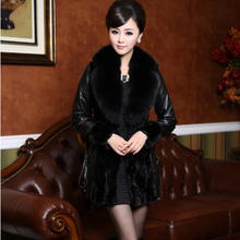 2016 Women Leather Coats With Fur Collar Long Faux Fox Fur Collar Woman Coat With Fur Black Women Mink Fur Jacket A657