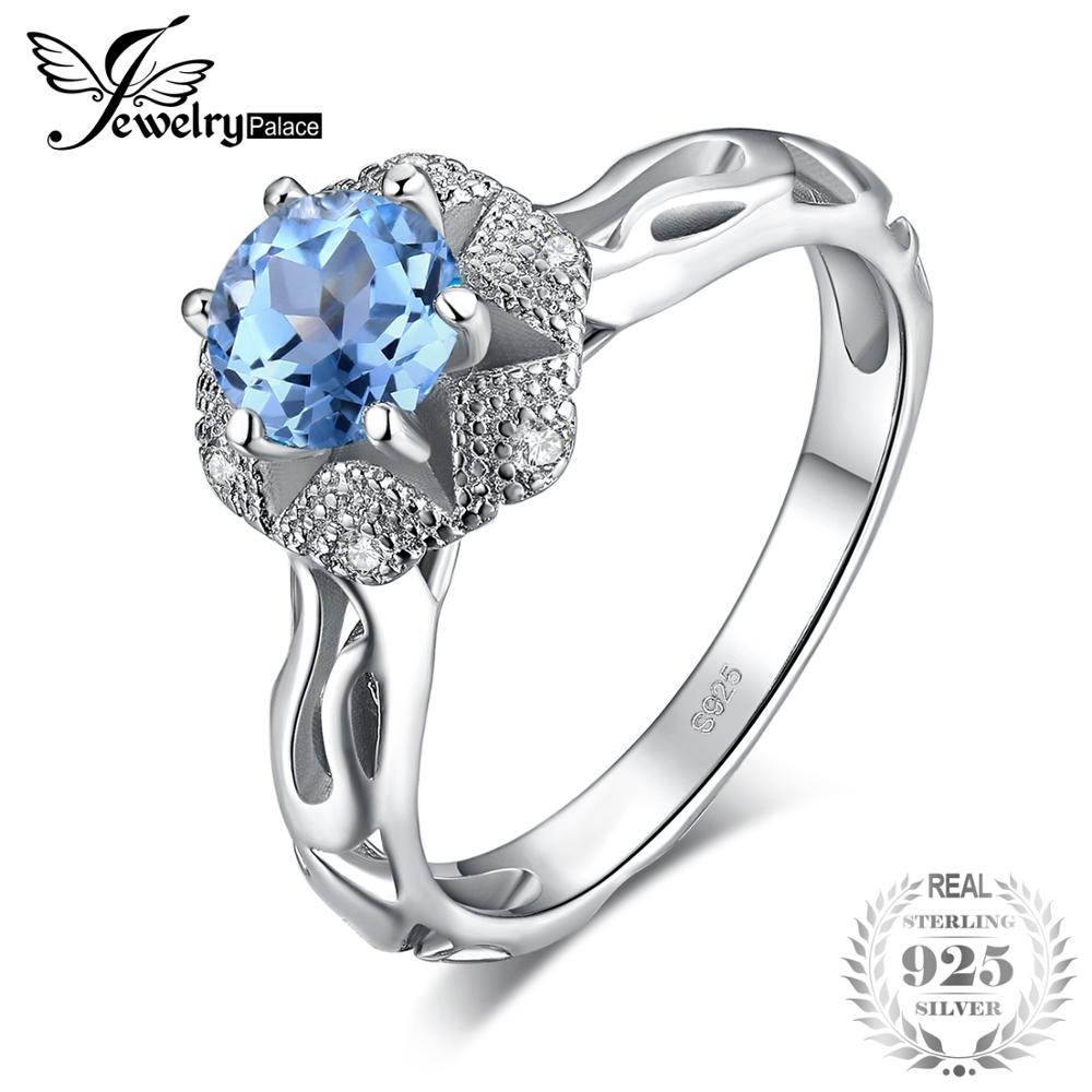 JewelryPalace Blossom Flower 1ct Natural Blue Topaz Cubic Zirconia 925 Sterling Silver Engagement Rings For Women Fine JewelryJewelryPalace Blossom Flower 1ct Natural Blue Topaz Cubic Zirconia 925 Sterling Silver Engagement Rings For Women Fine Jewelry